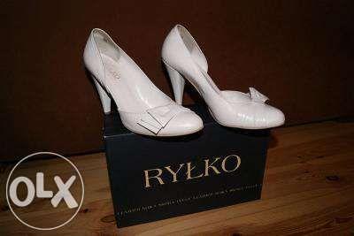 OKAZJA - Piękne buty ślubne - Ryłko rozmiar 38,5 = 25 cm - białe!!!