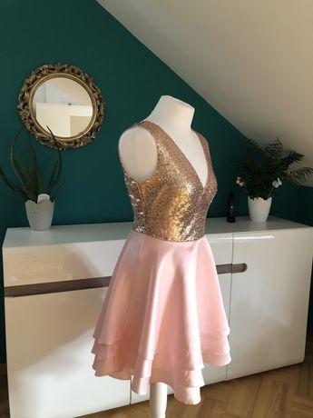 Sukienka okolicznościowa, koktajlowa różowo złota cekiny