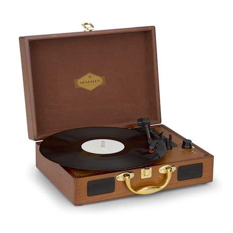 Gramofon retro drewno złoty Nostalgy Peggy Sue