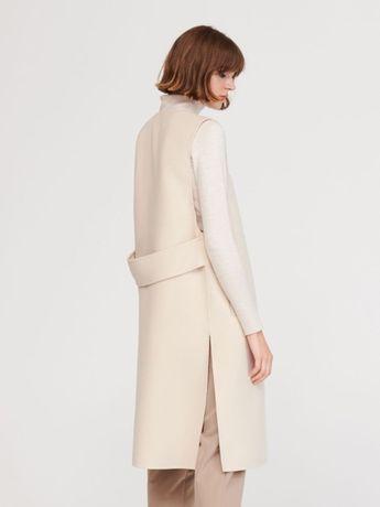 Massimo Dutti kamizelka wełniana płaszcz hand made biała ecru S