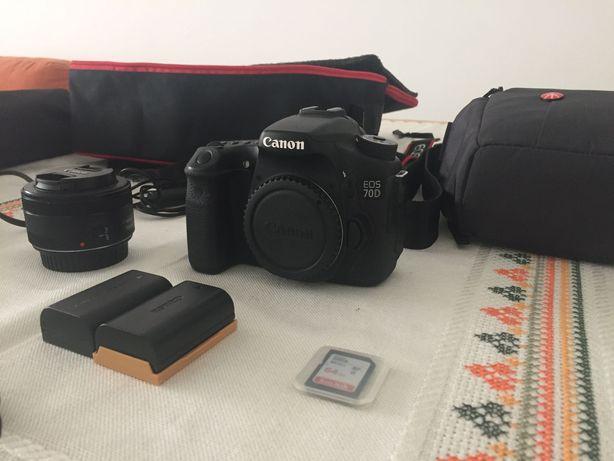 Canon 70D + 50mm + Tripé Manfrotto + Gimball + acess. - ÚLTIMO PREÇO!