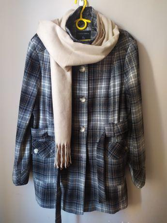 Zimowy płaszcz krata 46 +szalik