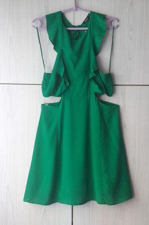 Zielona letnia sukienka mini falbany wycięcia Bershka