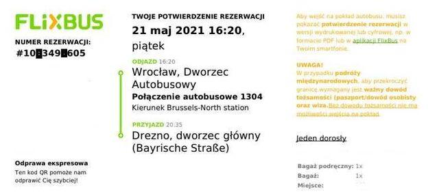 Flixbus (bilety) Wrocław - Drezno - Wrocław