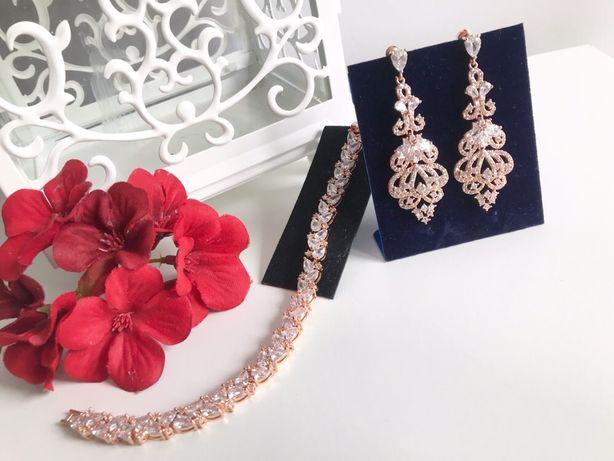 Zestaw biżuterii ślubnej okazjonalnej w kolorze rose gold