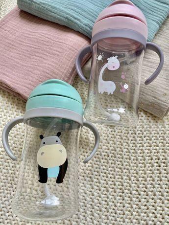Дитяча пластикова пляшка-поїльник з трубочкою