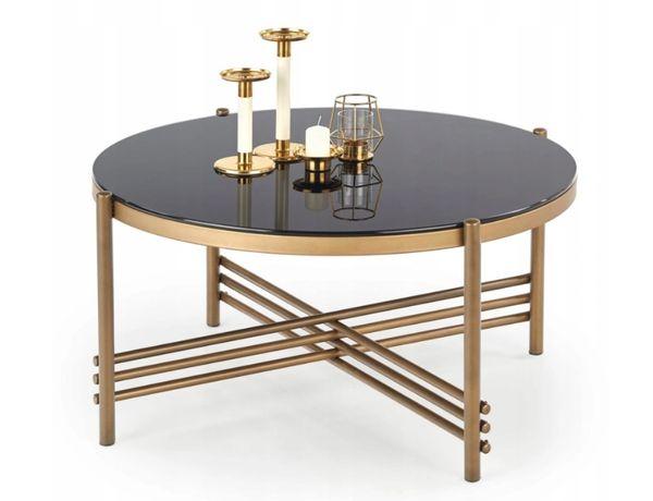 Stolik kawowy Glamour złoto czarny ława