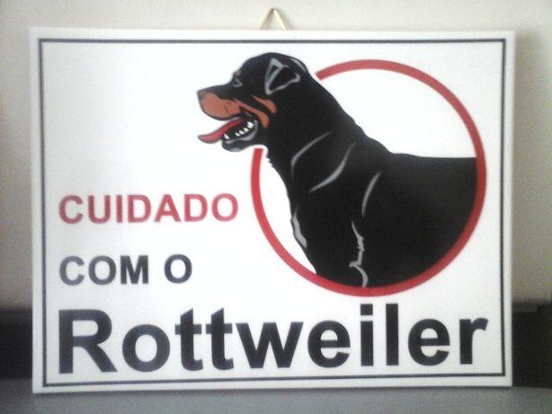 NOVO Azulejo Cuidado com o Cão Rottweiler 20 CM X 15 CM - Placa Aviso