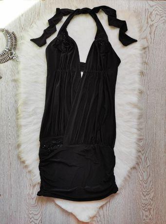 Черное вечернее нарядное секси стрейч короткое мини платье с декольте