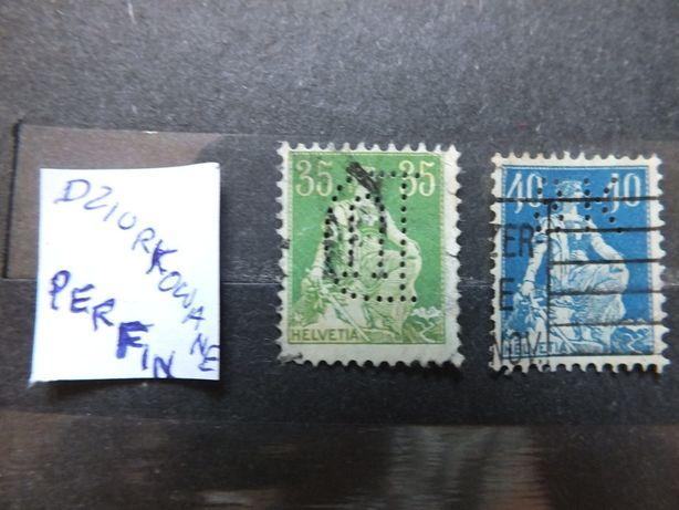 2szt. znaczki Mi105/1908r.Mi170/1921r./DZIURKOWANE/Szwajcaria Helvetia