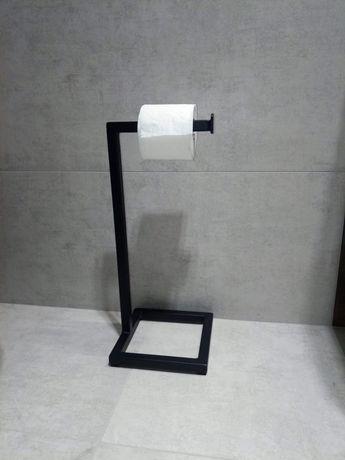Stalowy stojak na papier toaletowy, loft, industrialny