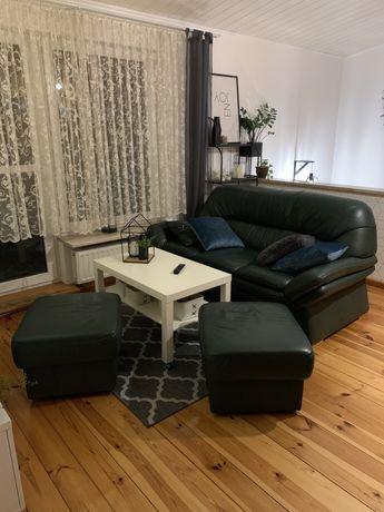 Skóra Kanapa Sofa Rozkladana + 2 Pufy