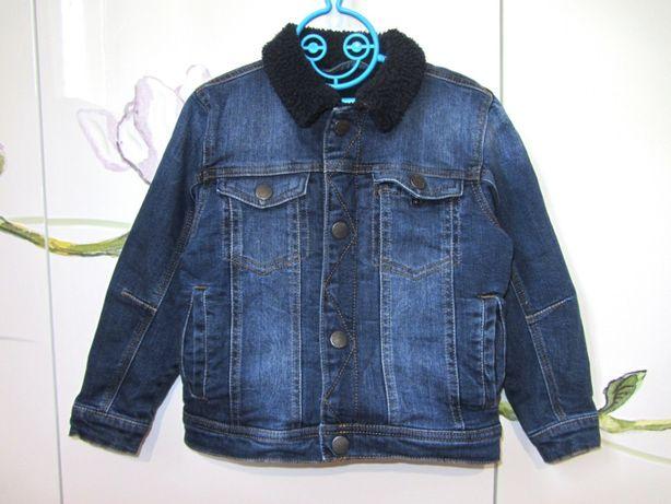 Теплая джинсовая куртка джинсовка пиджак на меху Next Некст 4-5 лет
