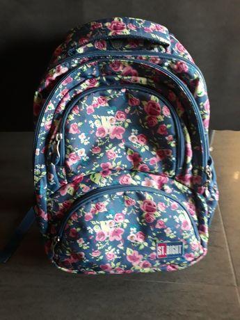 Plecak z piórnikiem dziewczęcy różowy kwiatki