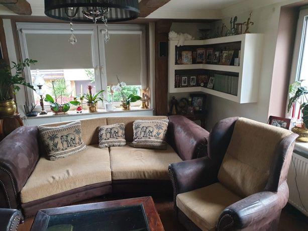 Duża Sofa + 2 fotele + pufa