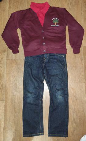 для школы мальчик 7-8л. Джемпер поло футболка джинсы
