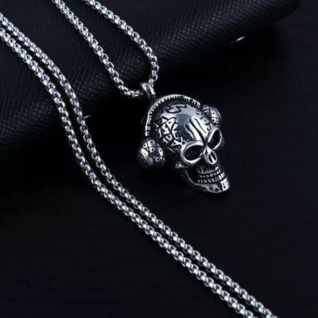 Мужской кулон цепочка череп с наушниками украшения бижутерия хром