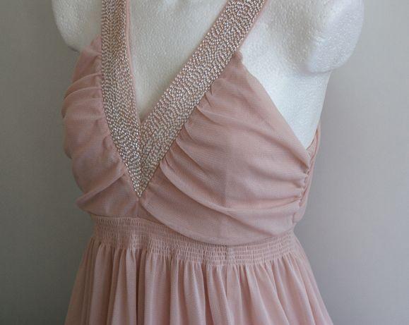 H&M sukienka Pudrowy róż Nude Zwiewna 38