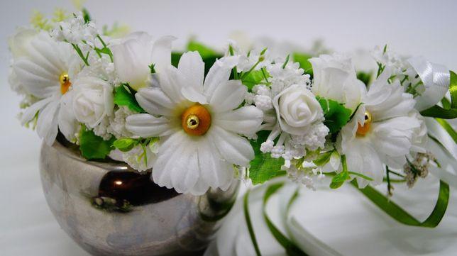 Wianek biel z zielenią - ozdoba do włosów. Ślub Komunia Sesja