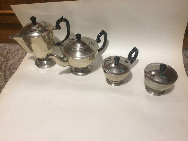 Мельхиоровый набор, кофейник, чайник, сливочник, сахарница, мельхиор.