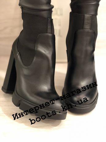 Женские демисезонные ботильоны на высоком устойчивом каблуке ботинки