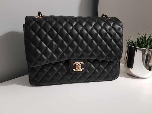 Piękna duża XL  Chanel Double flap cudo klasyk jakość piękna torebka