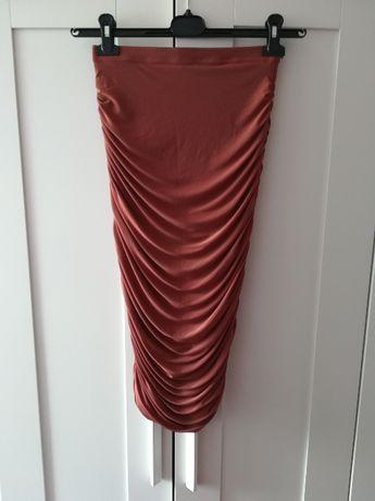 Spódnica Missguided S sexy tuba marszczona ruda róż Kardashian nowa