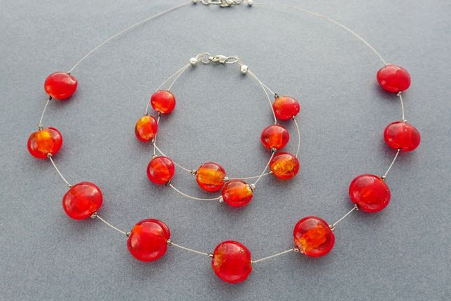 Naszyjnik i bransoletka z czerwonego szkła weneckiego