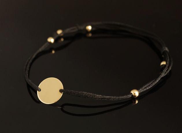 Złoto 585 - bransoletka na sznurku jubilerskim.