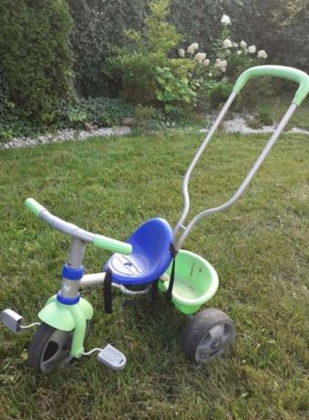 Rowerek trójkołowy niebiesko-zielony z Taczką SMOBY