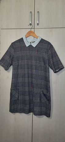 Платье в клеточку с воротником,туника, офисное платье
