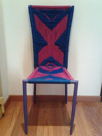 Cadeira étnica Macramé artesanal upcycle