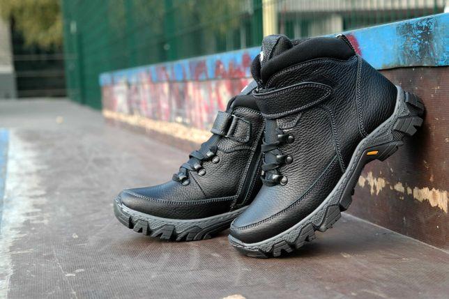 Подростковые кожаные зимние ботинки молния  Підліткові шкіряні зимові