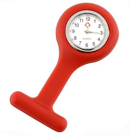 RU17 Relógio Enfermeira ou Auxiliar hospitalar Farda Bata Vermelho
