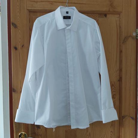 Koszula męska biała taliowana Oliver 41C XL na spinki do garnituru