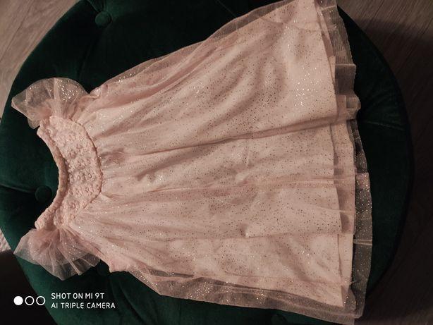 Sukienka dziewczęca 80 pudrowy róż