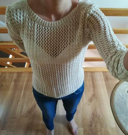 Złoty sweterek z efektowną siateczką, SUPER