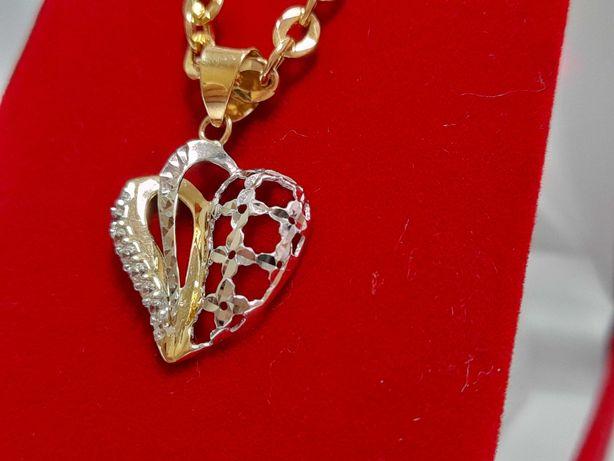 Wisiorek Ażurowe Serce złoto 14k
