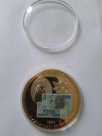 Medal 50 banknot Kazimierz III Wielki 1994 rok w kapslu