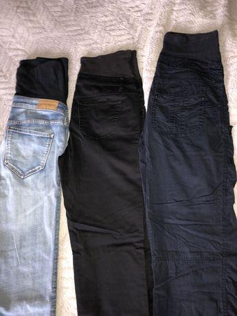 Spodnie h&m ciążowe 36 trzy pary dżinsowe eleganckie i sprtowe
