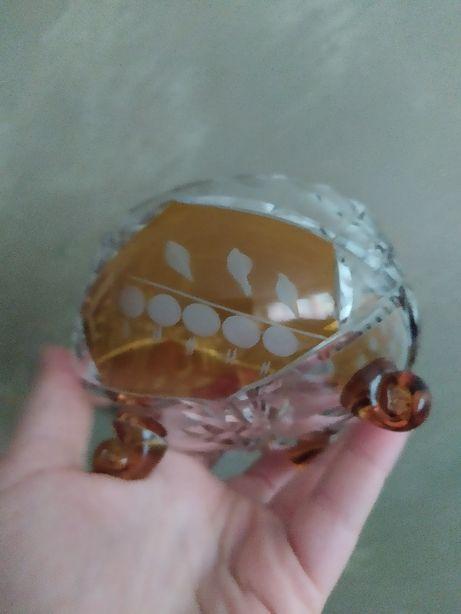 Cukiernica kryształowa szlifowana dwukolorowa bursztynowa