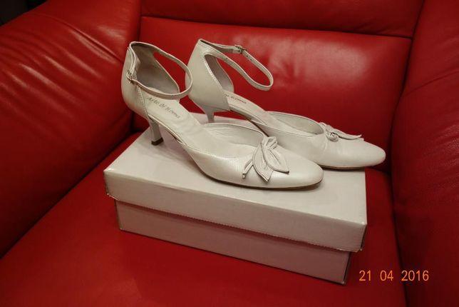 Ślubne buty Arte di Roma, rozm. 38,5 skóra, białe, perłowe, skórzane