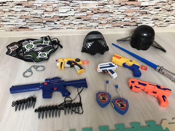 Бластер, полицейский набор, шлем, меч игрушки для мальчика
