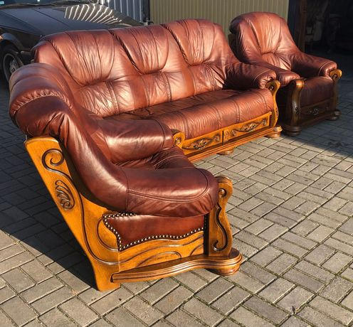 Komplet wypoczynkowy sofa dwa fotele - skóra naturalna,szuflady