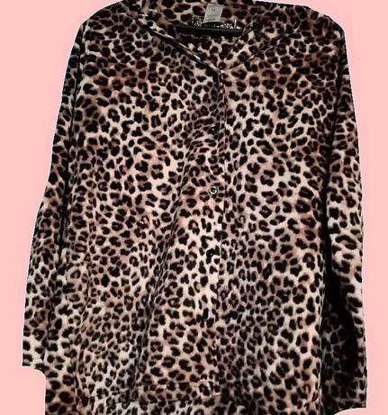 Леопардовая удлинённая кофта
