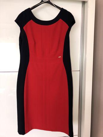 Czerwono-granatowa sukienka