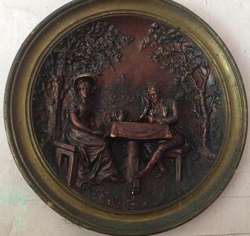 Gliniany obraz dekoracyjny z Prl-u