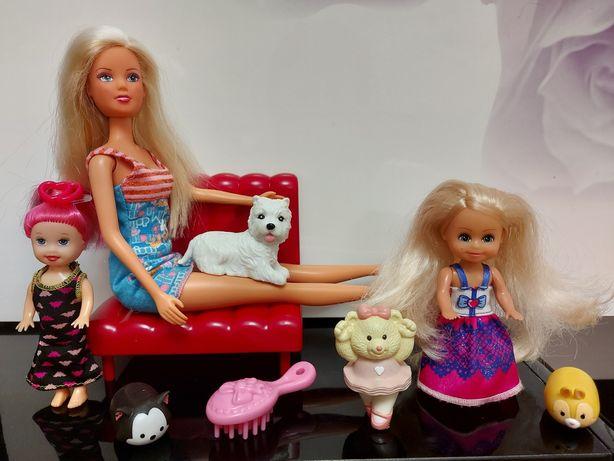 Кукла Барби, мини куколки, диван, собачка, мишка, цена за набор