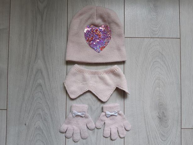 Komplet brudny róż: czapka, kominek, rękawiczki