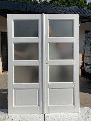 Drzwi dwuskrzydłowe 150 x 205cm BIAŁE